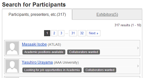 Search for Participants and Presenters